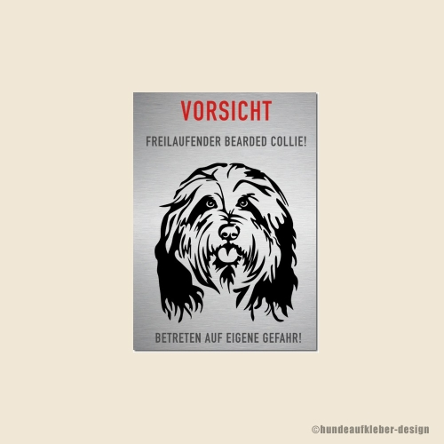 Bearded Collie Warnschild