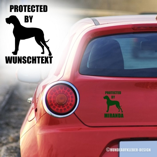 """Protected by..."" Deutsche Dogge Autoaufkleber"