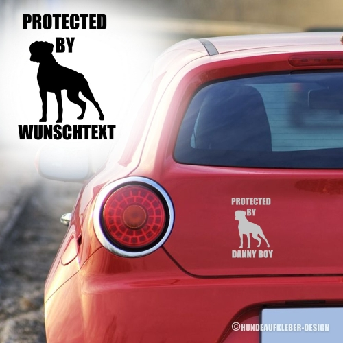 """Protected by..."" Boxer Autoaufkleber"