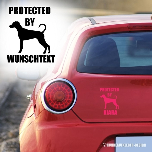"""Protected by..."" Dobermann Autoaufkleber"