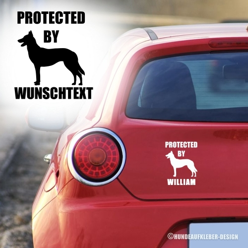 """Protected by..."" Malinois Autoaufkleber"