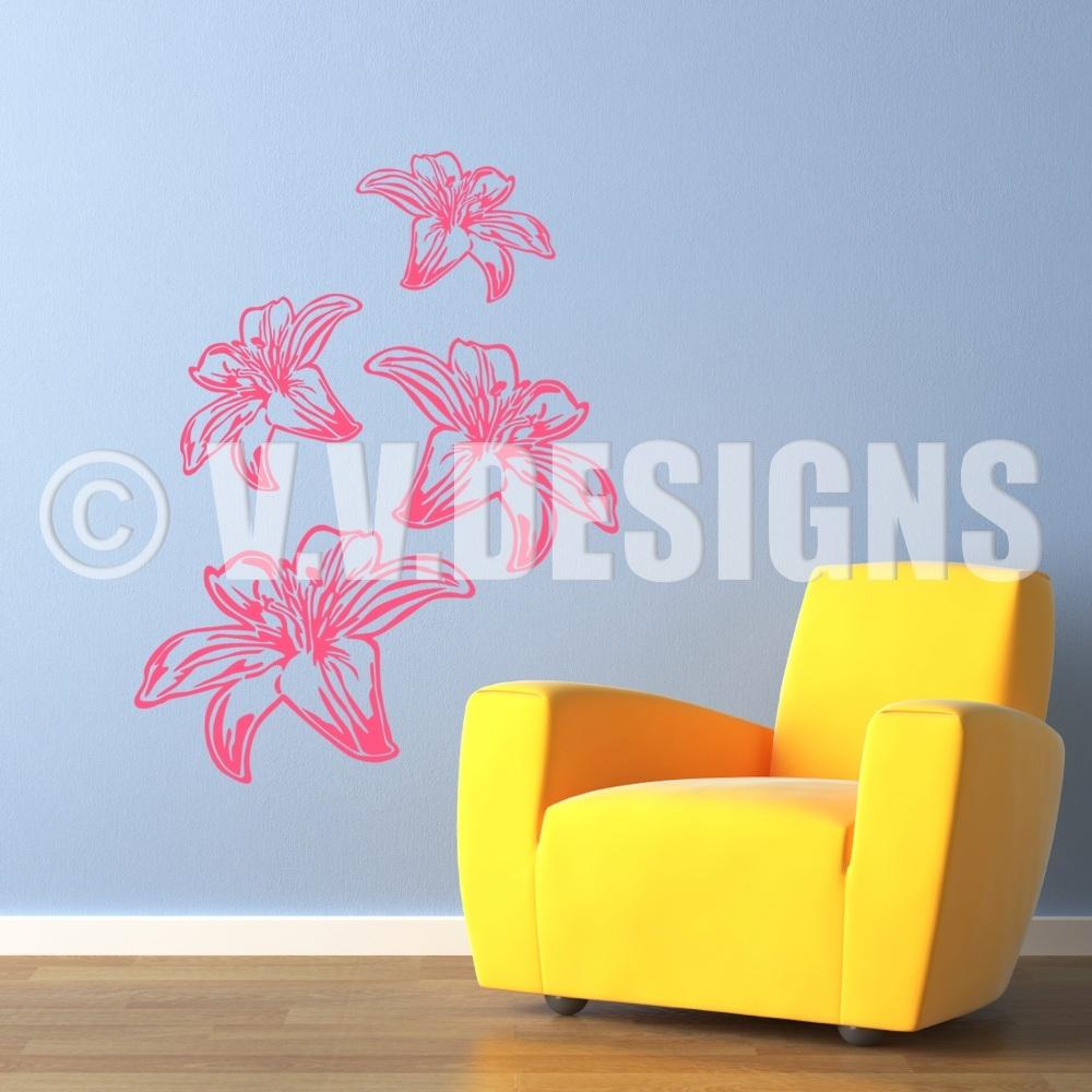lilie wandtattoo blumen aufkleber wand tattoo bl ten florales 0055 s xl ebay. Black Bedroom Furniture Sets. Home Design Ideas