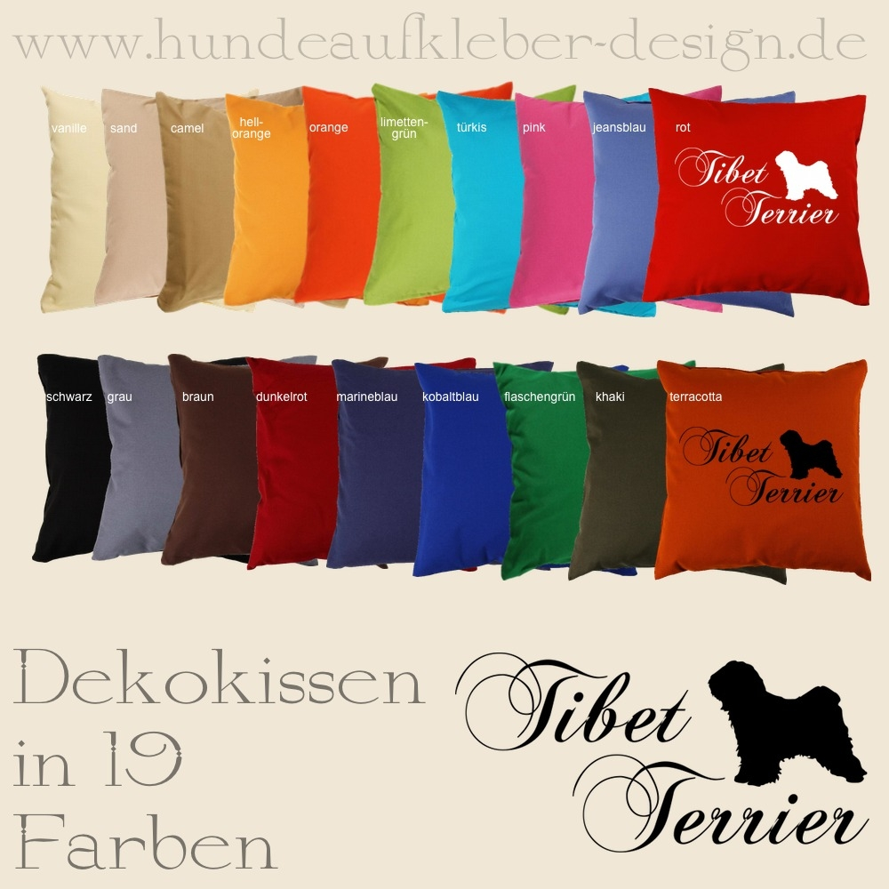 hundeaufkleber shop tibet terrier dekokissen. Black Bedroom Furniture Sets. Home Design Ideas